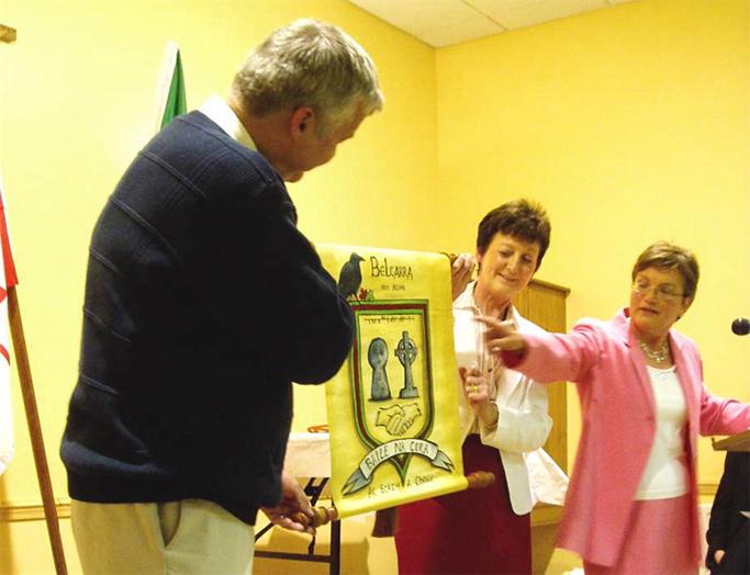 Councillor Bruce Drake Accepting Irish Belcarra's Crest